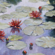 Smooth Sailing - Lilies In Monets Garden Art Print