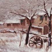 Snow On The Farmhouse Art Print