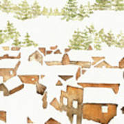 Snow Town Art Print