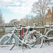 snowy Amsterdam in the Netherlands Art Print