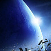 Space Junk Orbiting Earth Art Print