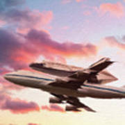 Space Shuttle Discovery Flies Off Into Retirement Art Print