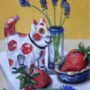 Spotted Cat With Strawberries Art Print