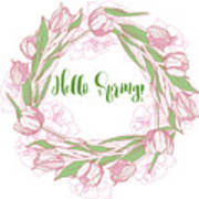Spring  Wreath With Pink White Tulips Art Print