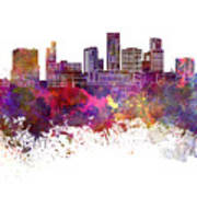 St. Paul Skyline In Watercolor Background Art Print