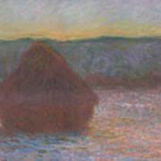 Stack Of Wheat, Thaw, Sunset Art Print