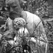 Statue In Flowers Art Print