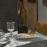 Still Life With Bottle Carafe Bread And Wine Art Print