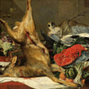 Still Life With Dead Game, A Monkey, A Parrot, And A Dog Art Print