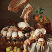 Still Life With Dressed Game, Meat And Fruit Art Print