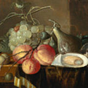 Still Life With Fruit And Oysters On A Table Art Print