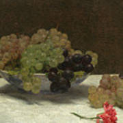 Still Life With Grapes And A Carnation Art Print