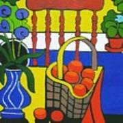 Still Life With Red Chair And Oranges Art Print