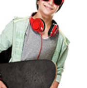 Stylish Boy With Skateboard Art Print