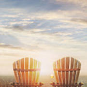 Summer Chairs Sand Dunes And Ocean In Background Art Print