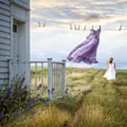 Summer Dress Blowing On Clothesline With Girl Walking Down Path Art Print