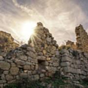 Sun Shining Through A Derelict Building At Occi In Corsica Art Print