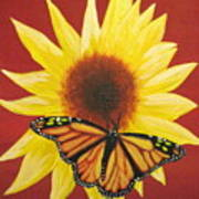 Sunflower Monarch Art Print