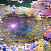 Sunglint On Autumn Lily Pond II Art Print