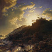 Sunset After A Storm On The Coast Of Sicily Art Print