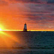 Sunset And Lighthouse Art Print