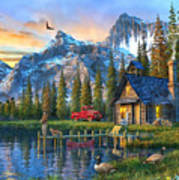 Sunset At Log Cabin Art Print