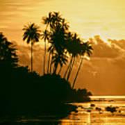 Sunset In Atiha, Moorea, French Polynesia Art Print