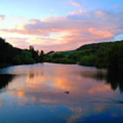 Sunset Over A Lake Art Print