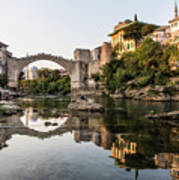 Sunset Over The Famous Mostar Bridge Art Print