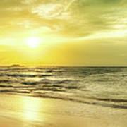 Sunset Over The Sea. Panorama Art Print
