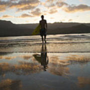 Sunset Surfer Art Print by Kicka Witte - Printscapes