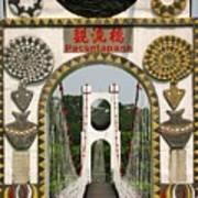 Suspension Bridge With Tribal Decorations Art Print