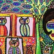Talavera Owl Tree House Art Print