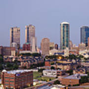 Tall Buildings In Fort Worth At Dusk Art Print by Jeremy Woodhouse