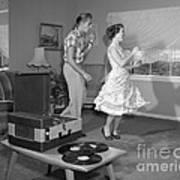 Teen Couple Dancing At Home, C.1950s Art Print