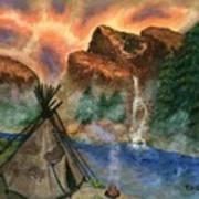 Tepee Across from the Misty Hills Art Print