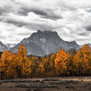 Teton Fall - Modern View Of Mt Moran In Grand Tetons Art Print