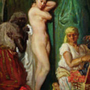 The Bath In The Harem Art Print by Theodore Chasseriau