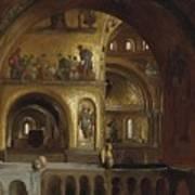 The Interior Of St Marks Basilica Venice Frederick Leighton Art Print