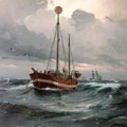 The Lightship At Skagen Reef Art Print