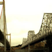 The Two Carquinez Bridges At Crockett And Vallejo California . Aka Alfred Zampa Memorial Bridge . 7d8830 Art Print by Wingsdomain Art and Photography