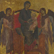 The Virgin And Child Enthroned With Two Angels Art Print