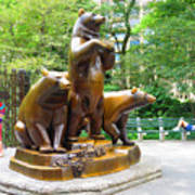 Three Bronze Sculpture Statue Of Bears Great Attraction At New York Ny Central Park By Navinjoshi Art Print
