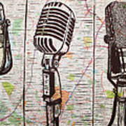 Three Microphones On Map Art Print