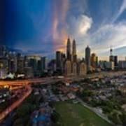 Timeslice Of Day To Night Of Kuala Lumpur City Art Print