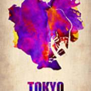 Tokyo Watercolor Map 2 Art Print