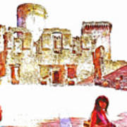 Tourists In The Castle Art Print