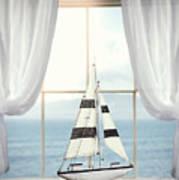 Toy Boat In Window Art Print