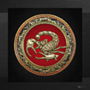 Treasure Trove - Sacred Golden Scorpion On Black Art Print
