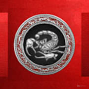 Treasure Trove - Sacred Silver Scorpion On Red Art Print